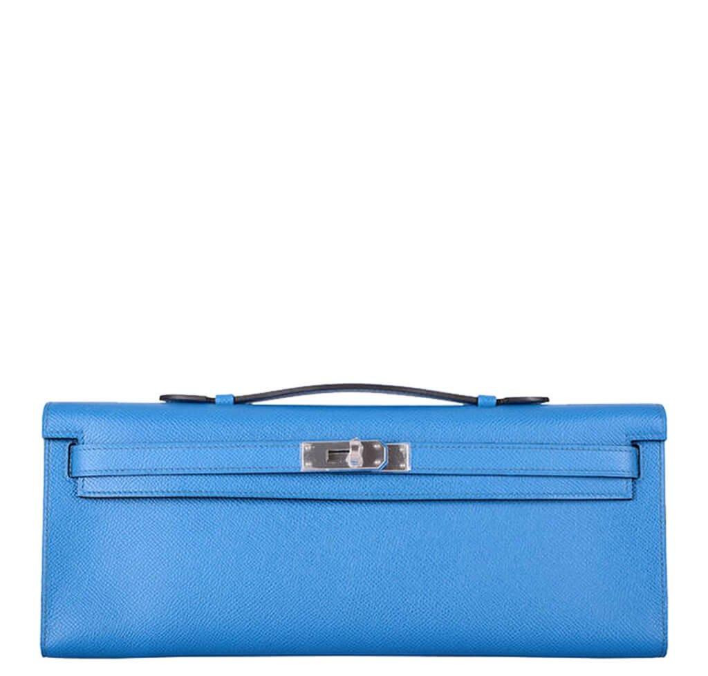 Hermès Kelly Cut Bag Blue Izmir