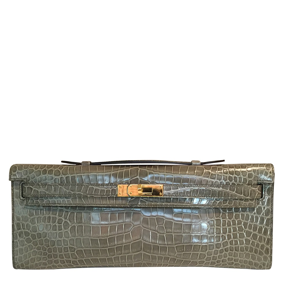 Hermès Kelly Cut Gris Tourterelle Porosus Crocodile GHW