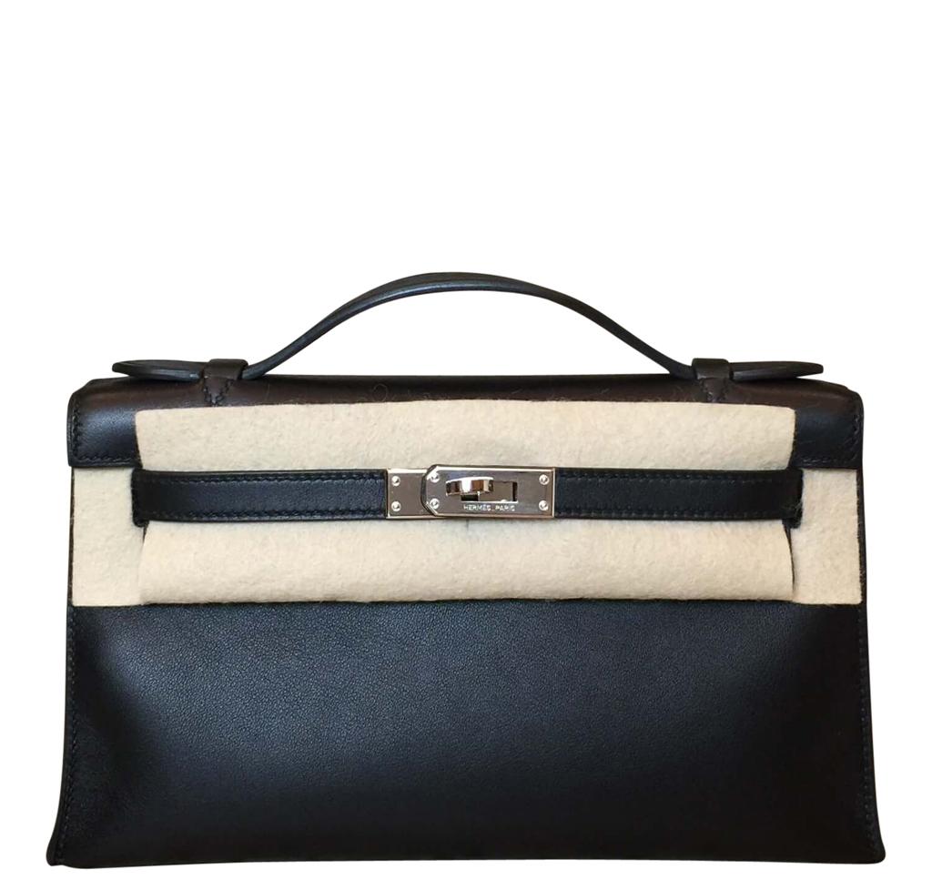 Hermès Clutch Kelly Pochette Black PHW