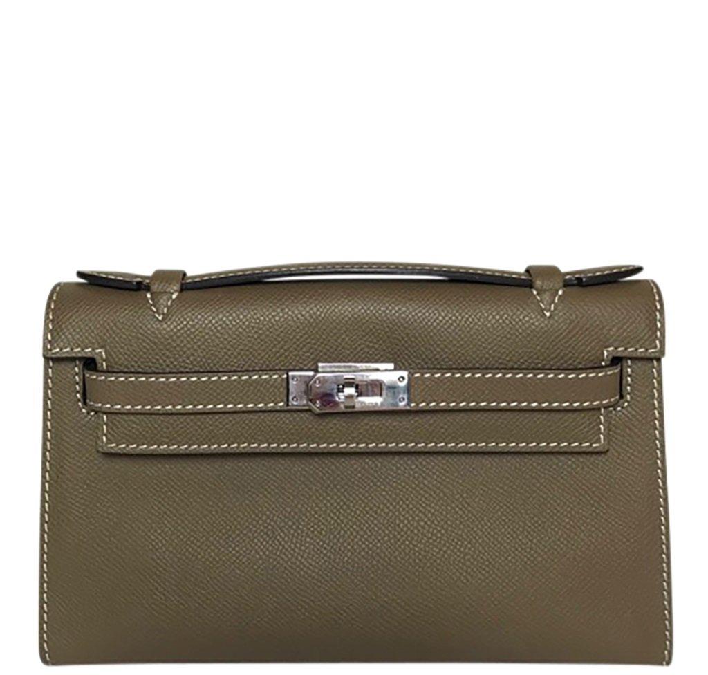 Hermès Kelly Pochette Mini Etoupe Epsom PHW