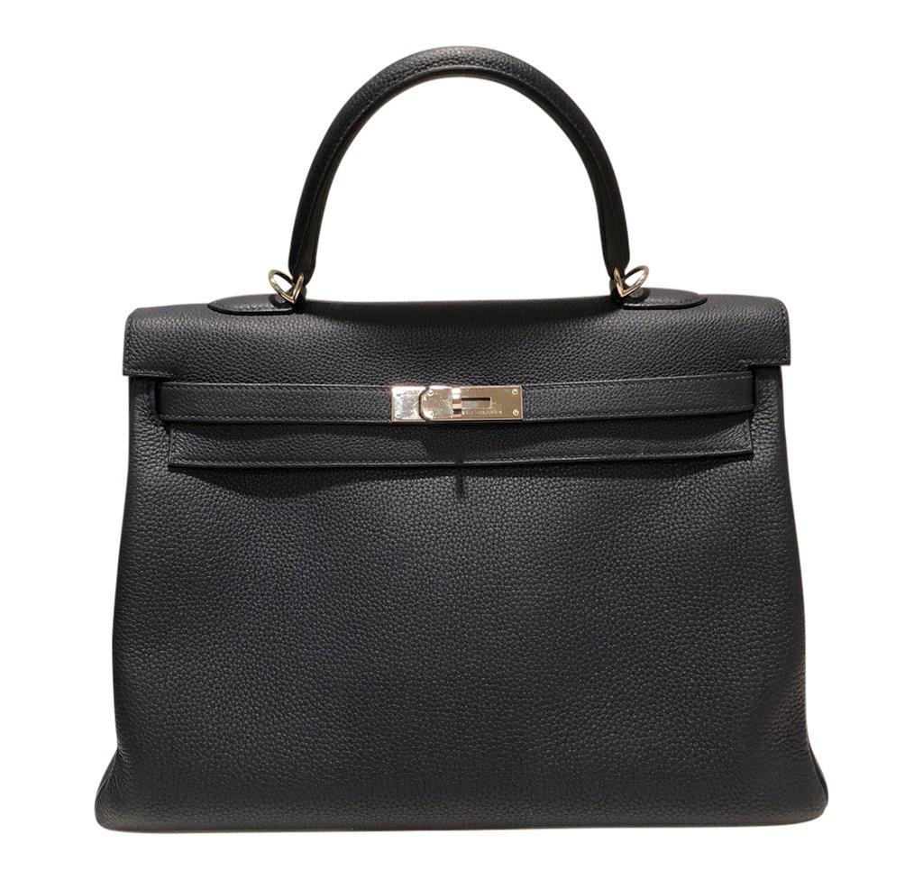 Hermès Kelly Retourne 35 Bleu Nuit Togo PHW Bag