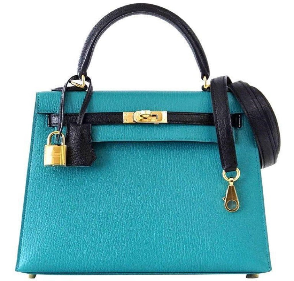 Hermès Kelly Sellier 25 Blue Paon Chevre GHW Bag