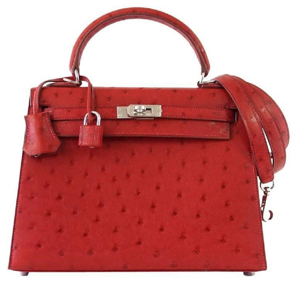 Hermès Kelly Sellier 25 Rouge Ostrich PHW Bag