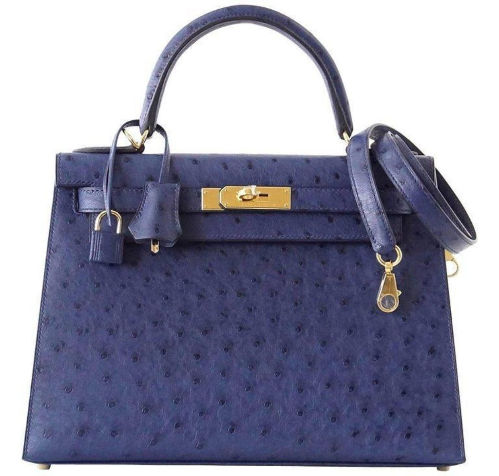 Hermès Kelly Sellier 28 Blue Iris Ostrich Bag