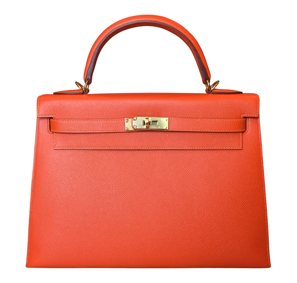 Hermès Kelly Sellier 32 Bag Feu Epsom GHW
