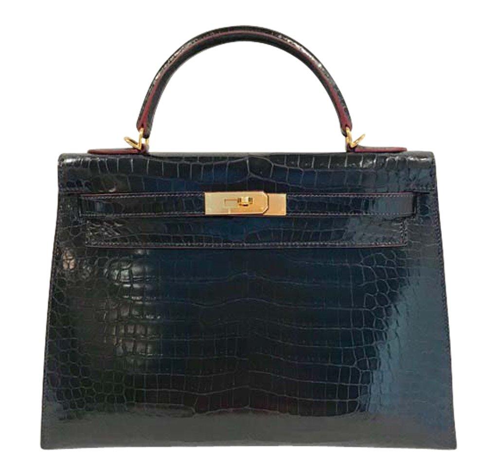 Hermès Kelly 32 Bleu Marine Crocodile