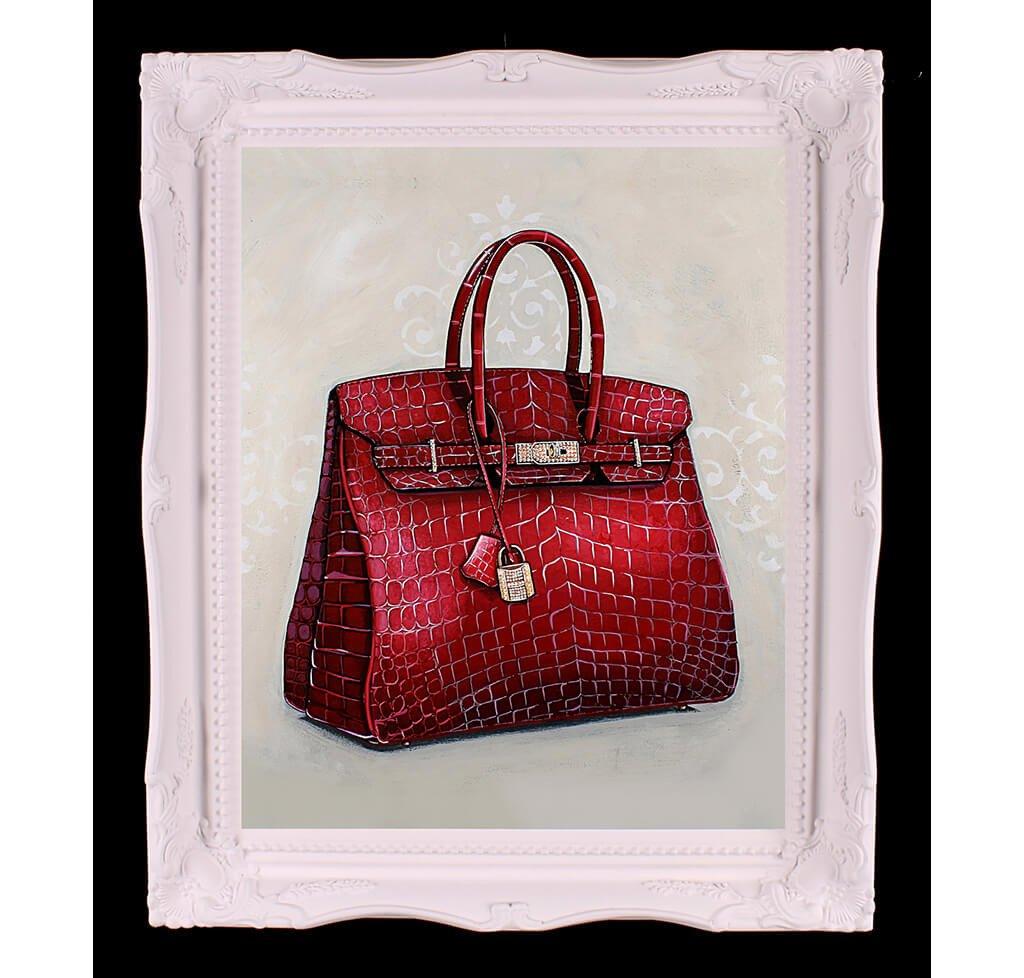 Medium Limited Edition Rouge Hermès Birkin Giclée