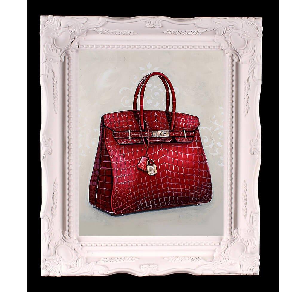 Small Limited Edition Rouge Hermès Birkin Giclée